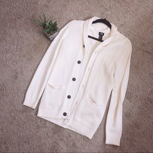 Cream knit button up casual cardigan